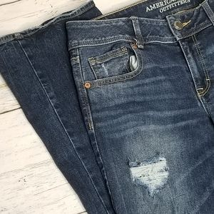 American Eagle Jeans Kick Boot Distressed Midrise